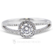 0.84ct H-vs2 Round Earth Mined Certified Diamonds 18k Gold Halo Engagement Ring