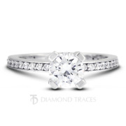 1 1/4ct F Vs2 Round Cut Natural Certified Diamonds 950 Plat. Classic Accent Ring