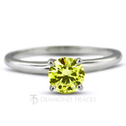 0.98ct Yellow Si2 Round Natural Diamond 14k Classic Solitaire Engagement Ring