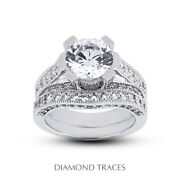 1.61ct E-si1 Round Natural Diamonds Plat Vintage Style Ring With Wedding Band