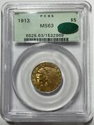1913 5 Gold Indian Head Half Eagle Pcgs Ms63 Cac Very Pq Coin In Ogh