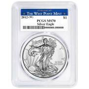 2012 W 1 American Silver Eagle Pcgs Ms70 West Point Label