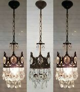 Three Matching Antique Vintage Brass And Crystals Small Chandeliers Ceiling Lamps