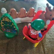Fisher Price Little People Christmas Elf And Reindeer Sleigh Gingerbread Gate