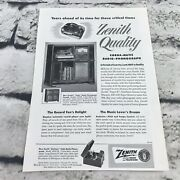 Vtg 1951 Print Ad Zenith Cobra-matic Radio Phonograph Advertising Art