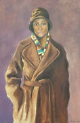Very Large Signed Oil Portrait Of Lady In Vintage Coat And Hat - Dated - Framed