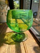 Vintage Art Glass Blown Vase Bowl Cup Clear Green Swirl Made In Mexico Heavy 5.5