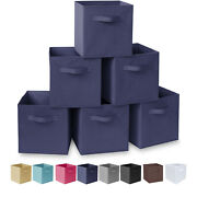 Homesto 11-inch Fabric Foldable Storage Cubes Bins Cubby With Handles 6-pack