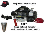 For Electric Winch 12000 Lb 5443kg 12 Volt W/synthetic Rope Black Satin Finis