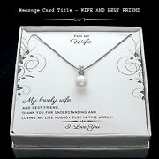 For Wife - Fine Simulated Shell Pearl Zircon Gem Necklace - Message Care Jewelry