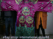 74.8 Old China Purple Silk Cloth Embroidery Dynasty Palace Dragon Robe Costumes