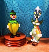 2 Vintage Hand-blown/hand-tooled Murano Art Glass Clowns/italy