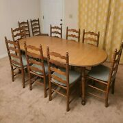 Antique Tell City Complete Dining Set 10 Chairs With The Original Table