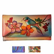 Anna By Anuschka Leather Ladies Wallet Try Fold With Checkbook Cover