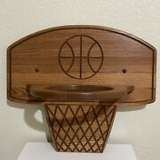 Wooden Basketball Sports Storage Display Wall Shelf Oak Stained Hand Crafted