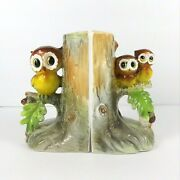 Vintage Norcrest Japan Anthropomorphic Owl Bookends Mother Baby Tree