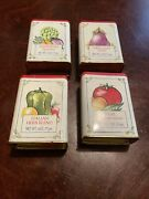 Lot Of 4 Vintage Colorful Herb Canisters Kitchen Decor Red Top Empty