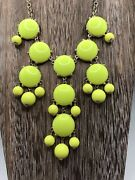 J Crew Bubble Necklace. Yellow Statement Chandelier On Gold Tone Chain Acrylic
