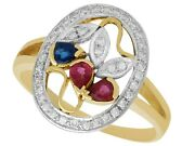Vintage Ruby Sapphire And Diamond Ring In 18k Yellow Gold 1940s