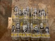 Pittsburgh Steelers Sb Xiv 1980and039s Mcdonalds Set Of 8 Drinking Glasses W/ Holder
