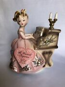 Vintage Josef Originals Music Box Girl Playing Piano Figurine