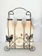 Vintage-style Milk Bottle With Metal Carrier Handle Painted Chicken Country Chic
