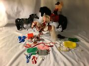 Vintage Plastic Horses Dolls And Accessories Lot Marchon Kid Kore And Handmade Tack