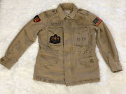 Polo Womens Patch Jacket Tan Weathered Military Inspired Size Xs