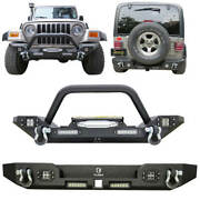Front + Rear Bumper Fits 1997-2006 Jeep Wrangler Tj With Winch Plate/led Lights