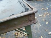 Mid Century Modern Folding Game Table Riveted Corners Stamped Steel 30x30 Rough