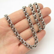 925 Sterling Silver Vintage Double Rolo Chain Necklace 24