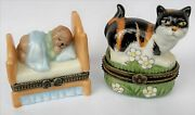 2 Sweet Trinket Boxes-black/calico Cat In Grass And Sleeping Baby Bear-unmarked