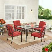 Forest Hills Outdoor Patio Dining 5 Piece Set Cushioned Metal Red Deck Garden