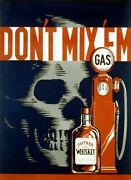 Don't Drink And Drive Alcohol Pump Gas Skull Usa Vintage Poster Repro Free S/h