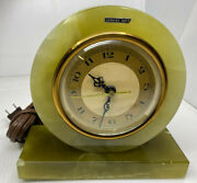 Electric Clock Whitehall Hammond Synchronous Movement Green Onyx Vintage Chips