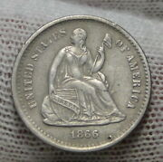 1866s Seated Liberty Half Dime H10c - 120,000 Minted, Mark But No Hole 5305