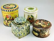 Vintage Decorative Tins Lot Of 4 Peanuts Gang Snow White Floral Tea Colonial