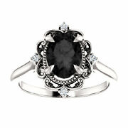 Victorian Oval Black Diamond Engagement Ring 14k White Gold, Victorian Ring