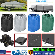 14 -24ft Waterproof Fabric Boat Cover Trailerable Fishing Ski V-hull Runabout