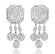 Solid 18k White Gold 2.50 Ct. Hi/si Pave Diamond Fine Dangle Earrings Jewelry