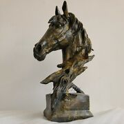 15 Bronze Horse Sculpture Antique Horse Head Statue Animal Bust For Home Decor