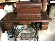 Vtg Antique Industrial Iron Standard Treadle Sewing Machine Table Cabinet And Base