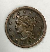 1849 Braided Hair Large Cent 1andcent Extremely Fine