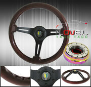 345mm Steering Wheel 3 Spoke + 2 Piece Aluminum Quick Release + Horn Button Jdm