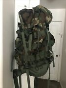 New W/out Tag Large Military Field Pack With Internal Frame Woodland Camouflage