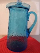11 Vintage Usa Blue Heavy Wave Ribbed Clear Glass Pitcher Beverage