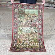 Yilong 2and039x3and039 500lines Handmade Silk Area Rug Scenery Tapestry Flower Carpet 556h