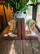 Pair Vintage Art Deco Style Onyx Marble Carved Horse Head Bookends Wood Stand