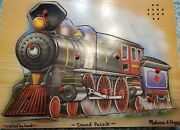 Locomotive Train Wooden Tray Peg With Sound Puzzle 9 Pc Melissa And Doug 3+