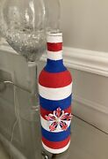 Upcycled Empty Twine Wrapped Wine Bottle Home Decor/ Vase Red White And Blue